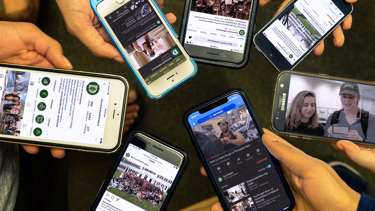 A photo of various phones with social media on the screens