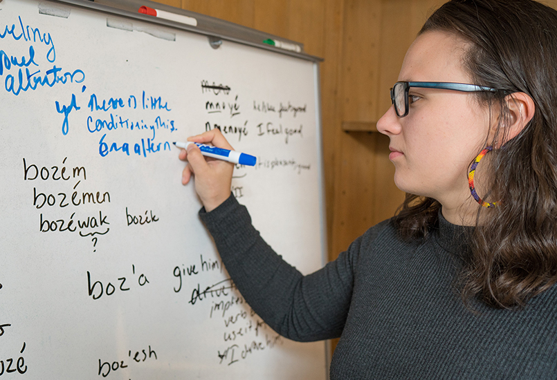 A woman working on languages on a white board