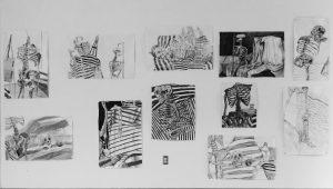 several sketches of skeletons