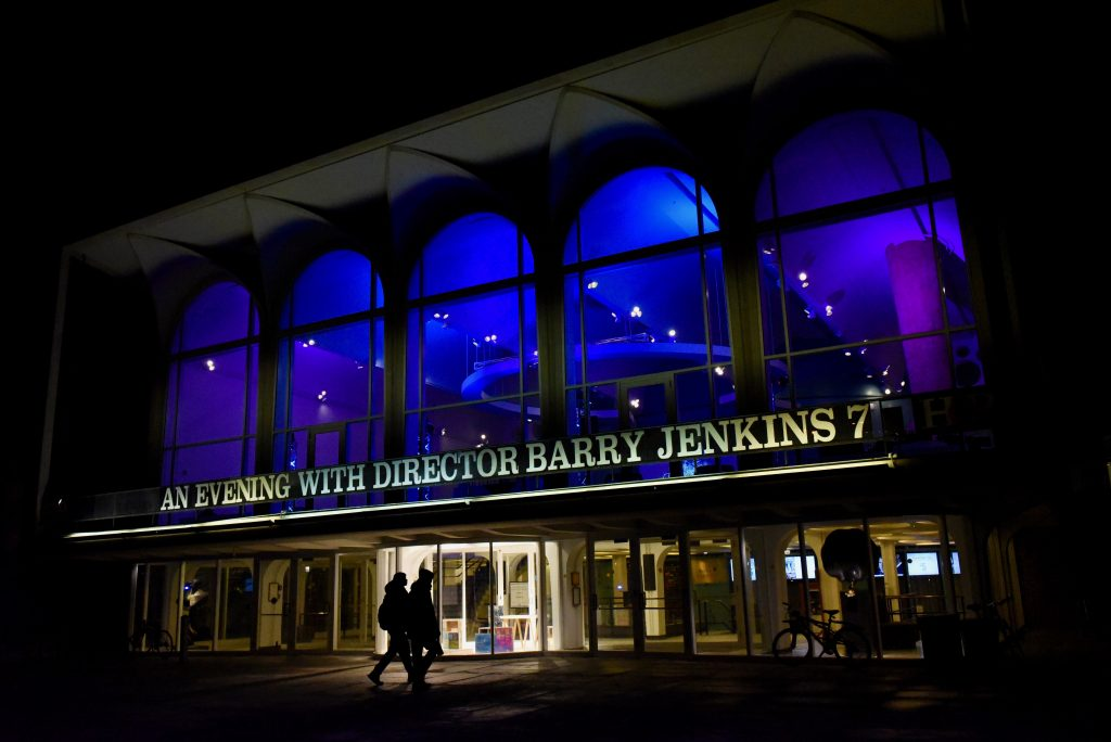 "Photo of the HOP with the sign that reads ""An Evening with Director Barry Jenkins"""