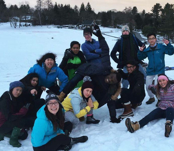 Group of students on snow