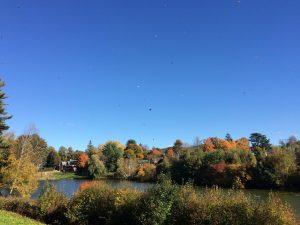 Occom Pond during peak fall foliage
