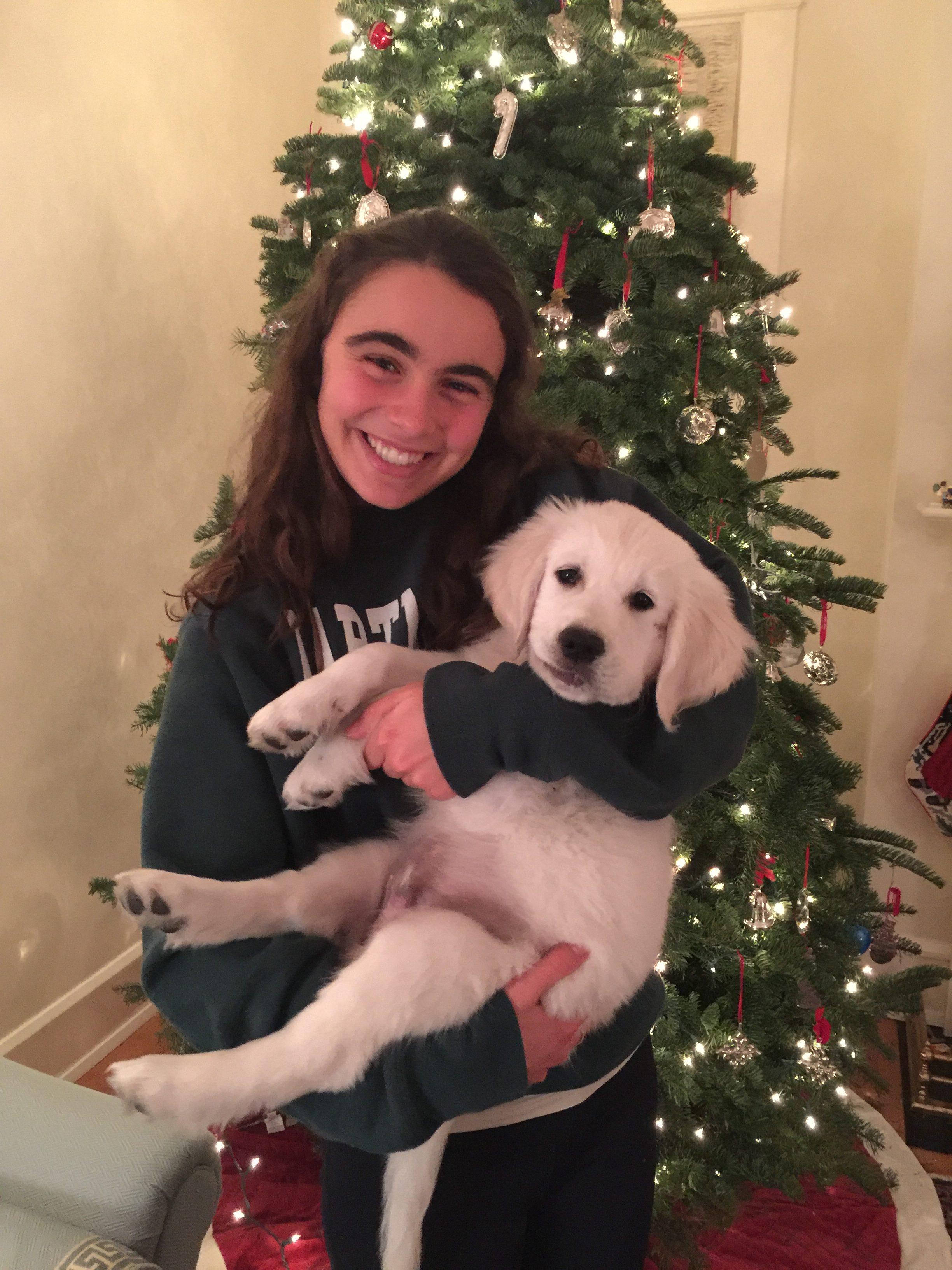 Sarah in Dartmouth sweatshirt with puppy