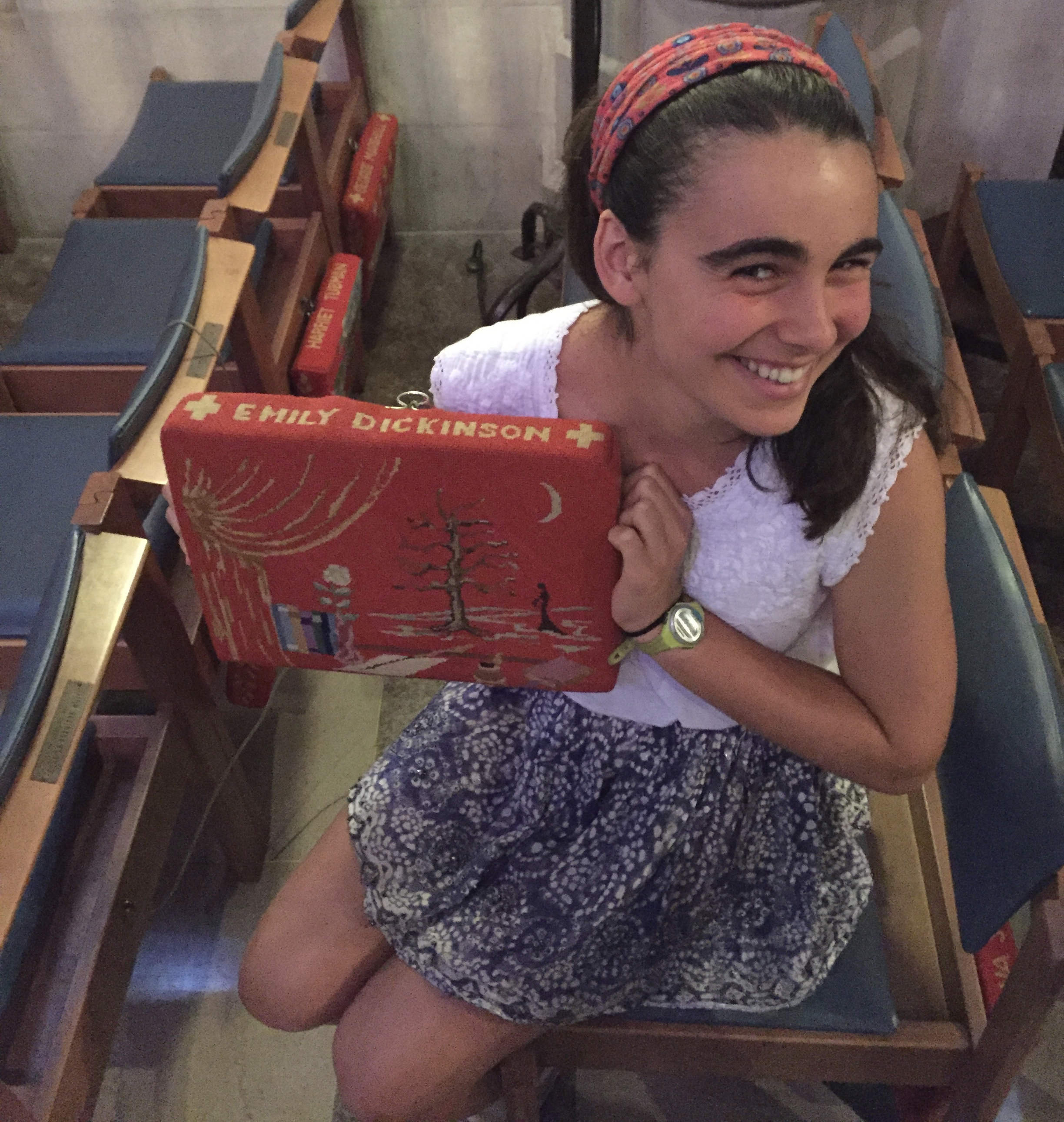 Emily Dickinson cushion at the National Cathedral