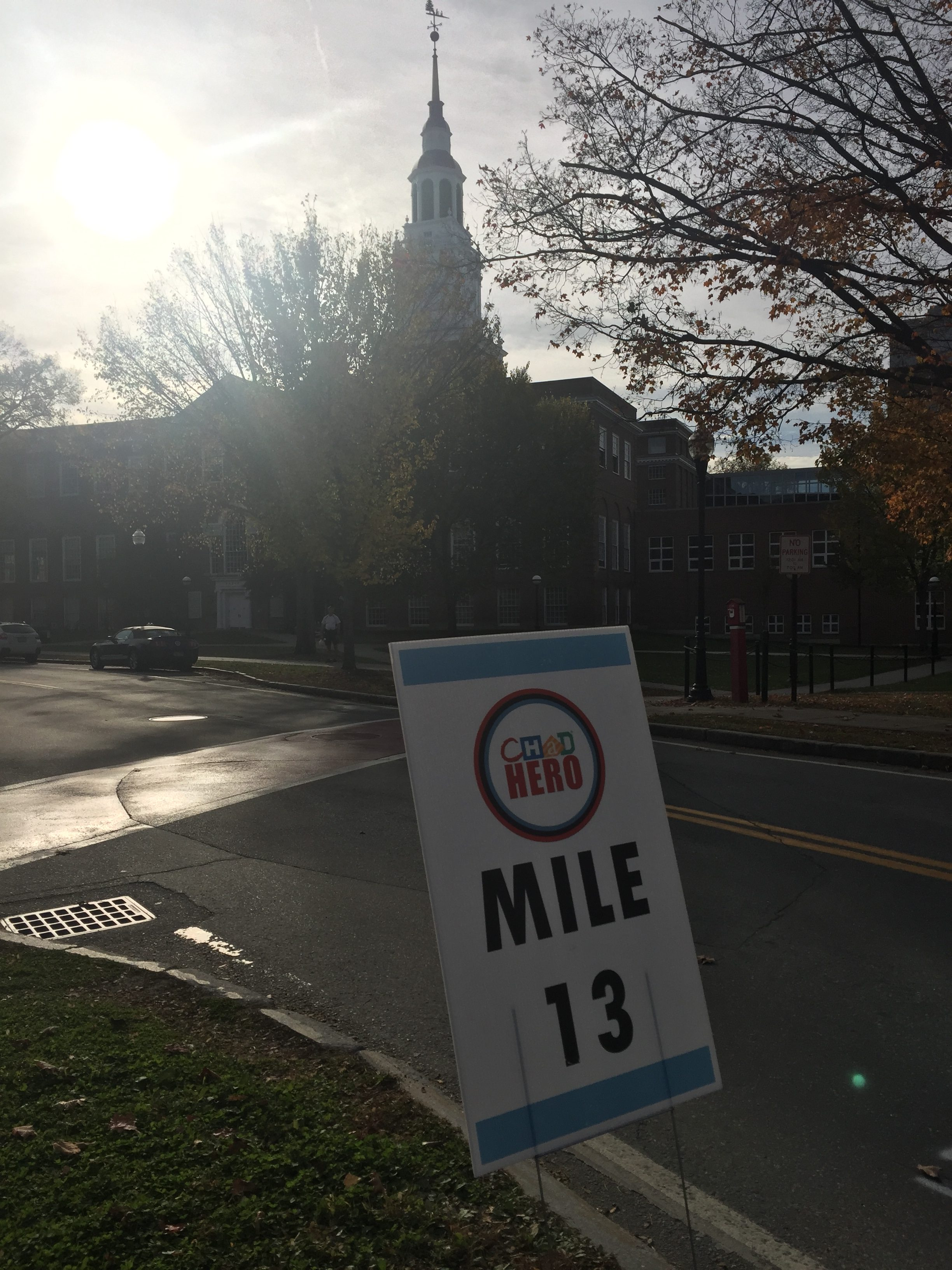 """Mile 13"" sign"