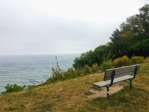 bench in park overlooking Lake Michigan