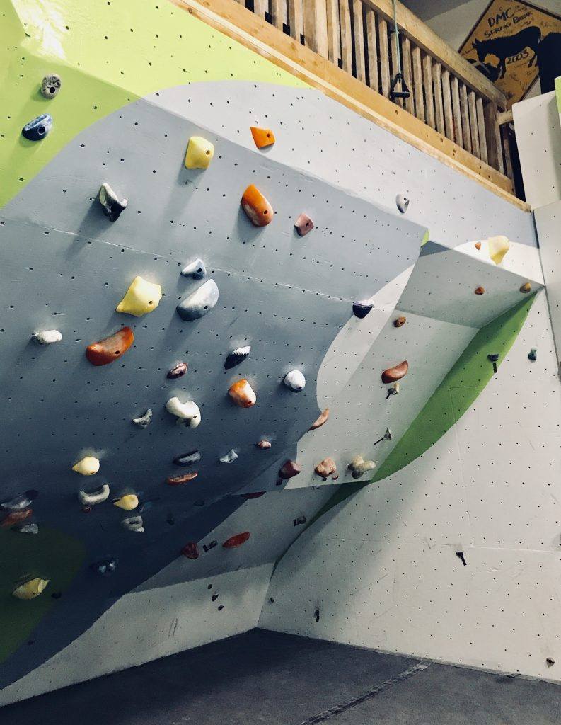An inverted climbing wall
