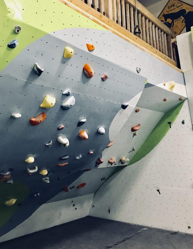 An inverted climbing wall