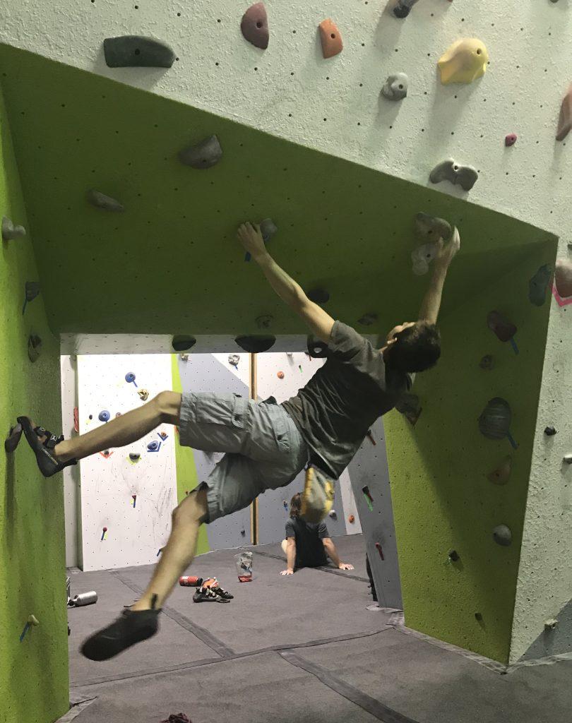 Duncan climbing sideways