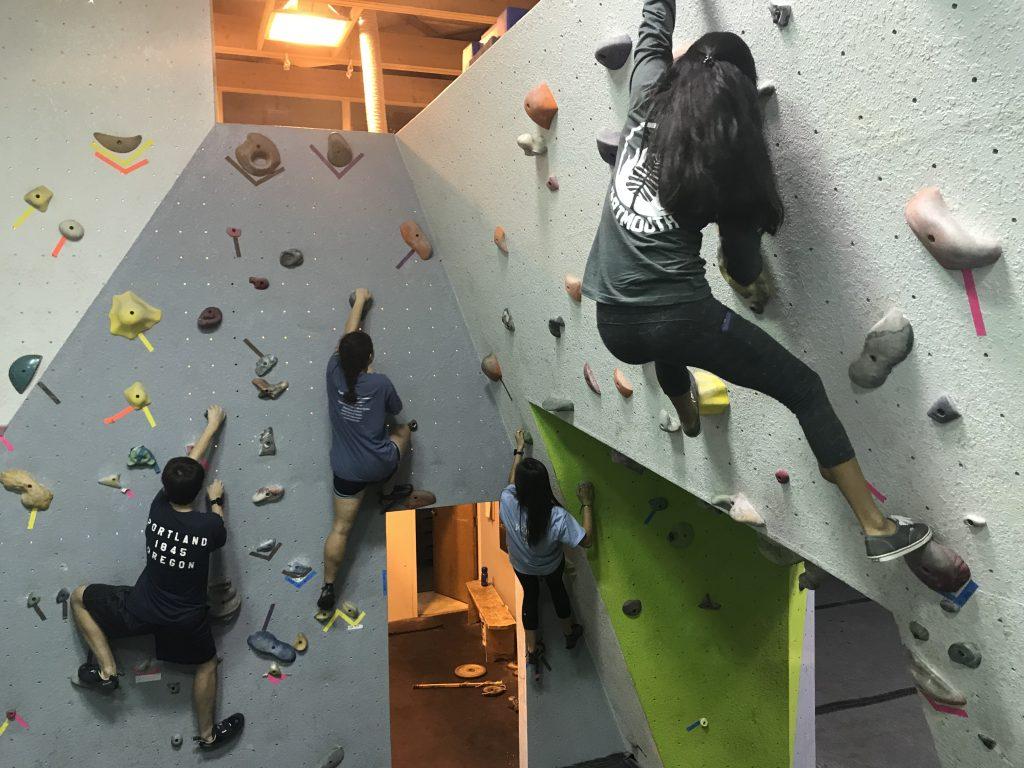 Climbing buddies defying gravity