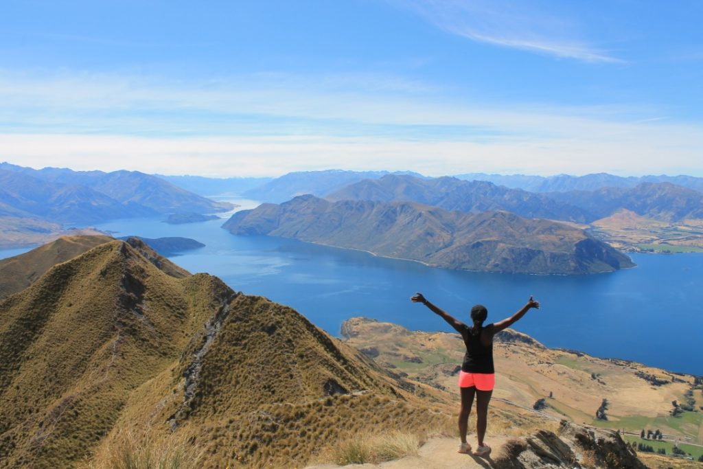 Me at the top of Roy's Peak, a mountain in Wanaka, New Zealand