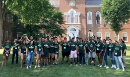 A photo of the participants in the 2018 Dartmouth Bound Program in front of Baker Library