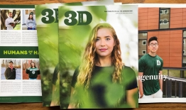 A photo of 3D Magazine, April 2021, cover and two inside pages