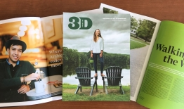A photo of a few spreads and the cover of 3D magazine