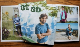 A photo of spreads and the cover of the October issue of 3D Magazine
