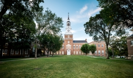 A photo of Baker Library in the early fall of 2021