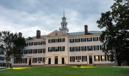 A photo of Dartmouth Hall in twilight
