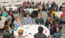 A photo of students having lunch at Dimensions