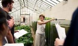 A photo of professor Anne Kapuscinski and a class at the Organic Farm