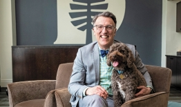 A photo of Dean Lee Coffin with his dog, Logan