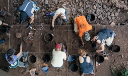 A photos of students at an excavation site in South Africa