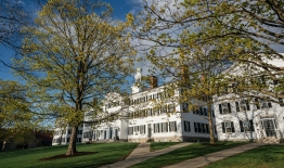 A photo of Dartmouth Hall in the spring