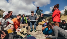 A photo of students doing a bioassessment near Yellowstone National Park