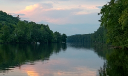 A photo of a sunset over the Conneticut River
