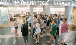 A photo of an admissions tour in Baker Library