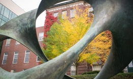 A photo of fall leaves through a sculpture outside of Wilder Hall