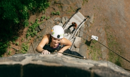 A photo of a woman climbing Bartlet Tower