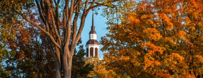 A photo of Baker Tower in the fall leaves