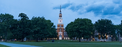 Photo of Baker Library at dusk in the summer