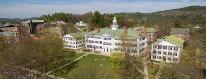 Photo of Dartmouth Hall taken from a drone