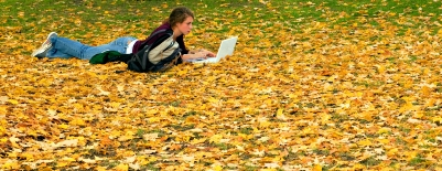 Photo of a woman laying the fall leaves with a computer