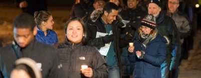 Photos of students and community walking as part of a candlellight vigil procession