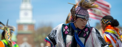 An image of a student at Powwow