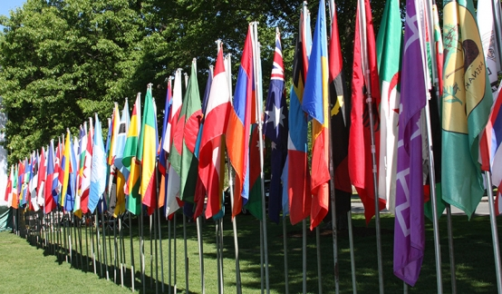 An image of international flags in front of Rauner