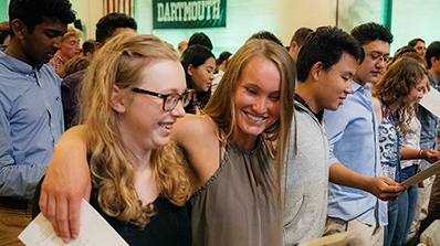 A photo of students at their first class meeting as Dartmouth students