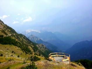 platform overlook with mountains