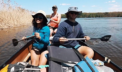 A photo of students canoeing from the 2018 Spring Highlights video
