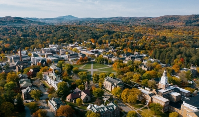 A photo of campus in the fall, looking Southwest, taken by a drone