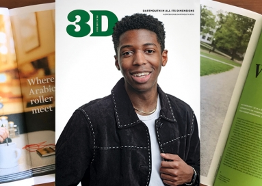 A photo of 3D Magazine, August 2019, cover and two inside pages