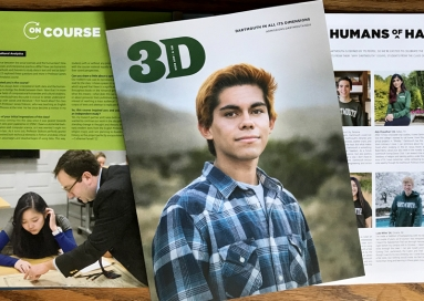 A photo of 3D Magazine, April 2020, cover and two inside pages