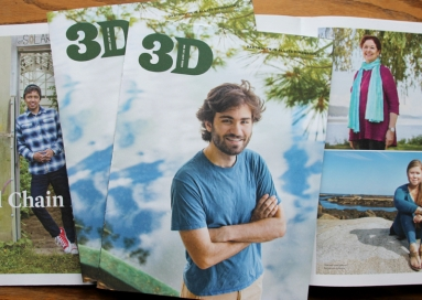 A photo of 3D Magazine, October 2020, cover and two inside pages