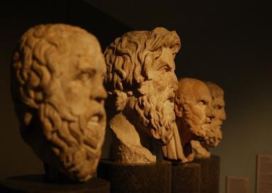Sculptural portraits of philosophers.