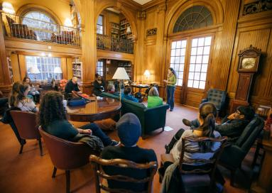 A photo of a poetry reading in Sanborn House