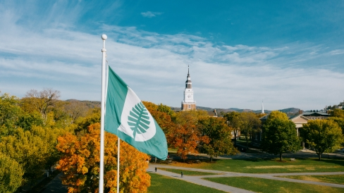 Dartmouth flag flying over campus / Eli Burakian '00
