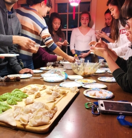 dumplings making at Chinese language house