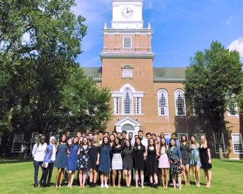 Matriculation Photo in front of Baker-Berry